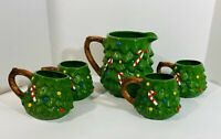 Ceramic Decorated Christmas Tree Pitcher and Mugs Set Holiday Entertaining Green