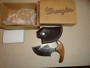 """WRANGLER  knife # WR0072  With leather sheath , """"T""""  Handle"""