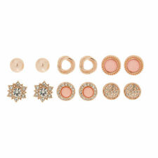 Claire's Girl's Rose Gold Crystal Pearl Stud Earrings - Blush Pink 6 Pack