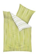 Kaeppel Wende Fein Biber Bettwäsche 4 tlg RV 135x200 Fading grün weiß Streifen