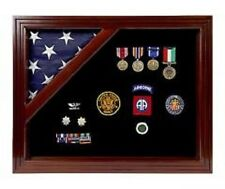 Military Award Shadow Box Display Case Mahogany 3 x 5 ft. Flag & Pins BLACK Felt