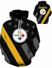 Pittsburgh Steelers Unisex Stars and Stripes Hoodie Size Med to 3XL (runs small)