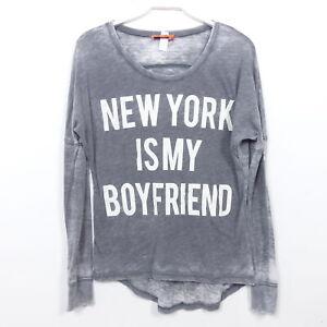 MISS GOODLIFE Longsleeve Shirt Grau NEW YORK IS MY BOYFRIEND Gr. XS 34