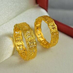 1pcs New Pure 24K Yellow Gold Ring Man Woman's Perfect Lucky Maxim US size 5-10
