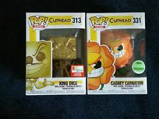 Funko Pop! CUP HEAD E3 2018 KING DICE #313 and ECCC 2018 CAGNEY CARNATION #331