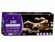 NEW CHRISTMAS DECORATE HOUSE SNOWING LED ICICLE COOL WHITE LIGHT 240 PK