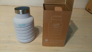 que Collapsible Water Bottle SOPHOS logo BPA Free Food Grade Silicone Gray Color