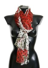 Dolce & Gabbana White Silk Bird Print Scarf One Size
