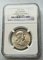 1958 Franklin Half Dollar * NGC UNC GEM DETAILS * Collector piece!