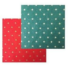 2 Pieces Of Felt Star Print, 1 Green 1 Red. Ideal For Dolls House Miniatures