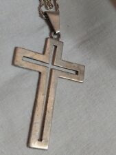 "Pendant Necklace Sterling Silver Cross & 40"" Chain Marked .925 Open Work Mexico"