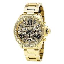 New Michael Kors Wren Gold Chronograph Women's Glitz Stainless Watch MK6095