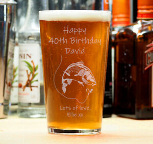 Personalised Birthday Beer Lager Pint Glass 18th 21st 30th 40th Fishing Angler