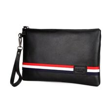 Mens Stylish Envelope Wallet Clutch Bag Handbag Small Black Polyurethane Leather