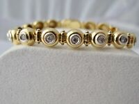 TENNIS ARMBAND mit 0,85 ct. BRILLANTEN 750 / 18K GOLD 26,2G BICOLOR WERT 5400,-€