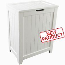 Laundry Hamper Clothes Basket Bathroom Home Organizer w/ Lid Cloth Storage White