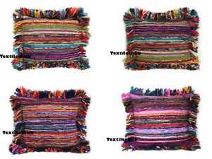 Indian Vintage Handmade All Sizes Cotton Chindi Rug Rag Pillow Cushion Covers UK