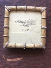AshleighManor 3x3 Frame Bamboo Clear Crystals Gold Enamel Pewter Framing - New