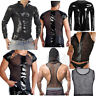 Mens Fishnet Mesh See Through T-shirt Leather Muscle Tank Top Gothic Slim Tops