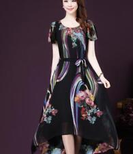 Nuevo patrón floral Vogue señoras vestido de playa de verano manga corta una línea delgada