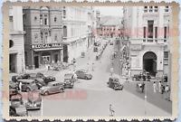 WW2 City Street Scene Car Rickshaw Building  Vintage B&W Singapore Photo 17649