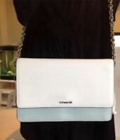 NWT Coach Saffiano Colorblock Leather Shoulder Chain Bag 51571 Aqua