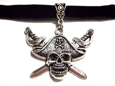 BLACK VELVET PIRATE SKULL CHOKER gothic silver jolly roger buccaneer necklace 1I