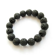12MM Black Lava Volcano Stone Beaded Elastic Bracelet Tibet Buddhist Prayer Mala