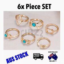 Boho Knuckle Rings Finger Jewellery Surf Steampunk Vintage Gold SET 6x PCS