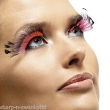 Ladies Long Black/Pink Feather False Eyelashes Burlesque Drag Queen Fancy Dress