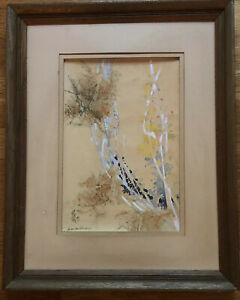 HSIAO YEN HSU Chinese USA Artist Watercolor/Gouache Abstract Painting Signed '70