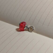 James Avery Retired Red Sterling Silver Heart Love Finial Art Glass Bead Charm