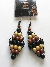 browns beige french wire Fashion Earrings- diamond shape-wood beads