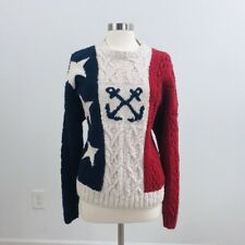 vintage Tommy Hilfiger chunky sweater red white blue anchor nautical color block