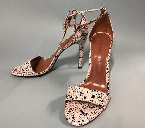 BCBG MAXAZRIA Ellettra Faux-leather Sandal Black & White Strap Shoes NEW Size 10