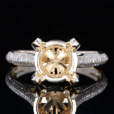 Solid 14k Yellow Gold Pave Diamond Semi Mount Engagement Ring Setting Round 9mm
