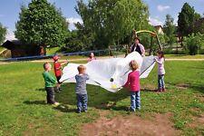 Schwungtuch WEISS Gruppenspiel Auge-Hand-Koordination 12 Griffschlaufen Ø 360cm