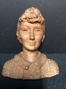 1934 Hand Sculpted Signed Terra Cotta Bust of Ada Jane Cowell