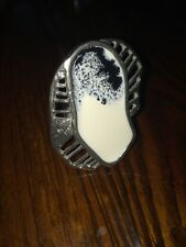 HANDMADE  Anne Marie Chagnon Ring BLACK AND WHITE VALUPI adjustable PEWTER