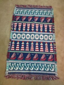 """30""""x48"""" Cotton Nautical Rug Handwoven from India  Lighthouses  Anchor Sailboats"""