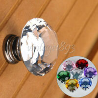 1 PCS 30mm Diamond Shape Crystal Glass Cabinet Knob Cupboard Drawer Pull Handle