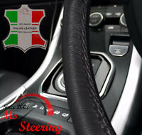 LEATHER STEERING WHEEL COVER FOR MITSUBISHI L200 WITH BLACK DOUBLE STITCHING