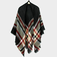 "Scarf Blanket Plaid Check Wrap Tartan Ruana Pashmina Soft Cozy Shawl 60x60"" BLK"