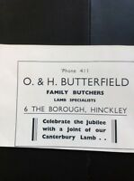 N1-1 Ephemera 1935 Hinckley Advert I & H Butterfield Butchers