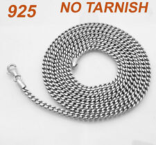 "36"" 3mm Mens Long Platinum Clad Franco Chain Necklace Solid Sterling Silver 925"
