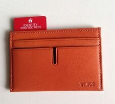 NWT $75 Tumi Chambers RFID Leather Card Case Mens Wallet Orange NEW