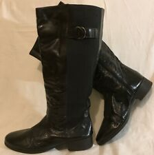 Tlc Wide Fit Black Knee High Leather Lovely Boots Size 7 (249vv)