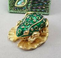 Vtg KJL Kenneth J Lane Green Enamel Jeweled Frog Pin Brooch Lilypad Trinket Box