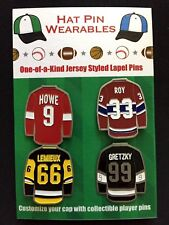 NHL Wayne Gretzky lapel pins & more-(4)-Classics-Gordie,Patrick,Mario-ICE GOATS!
