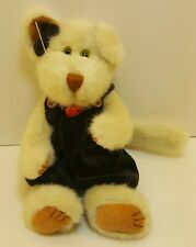 """Vintage The Boyds Collection White Cat Black Jumper w/ Bow 11"""" Plush Toy Bean"""